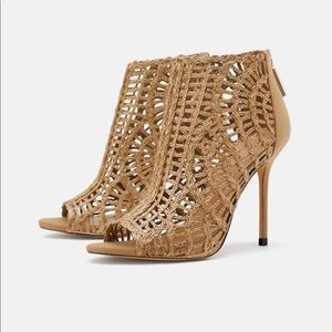 ZARa Woven High Heel Bootie Sandals